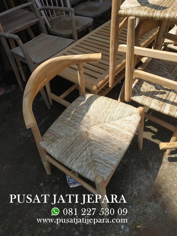 Kursi Cafe Jati Selli Jok Rotan