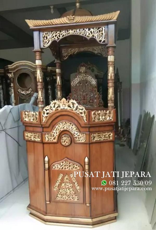 Mimbar Mihrob Masjid Kubah Ukiran Mewah