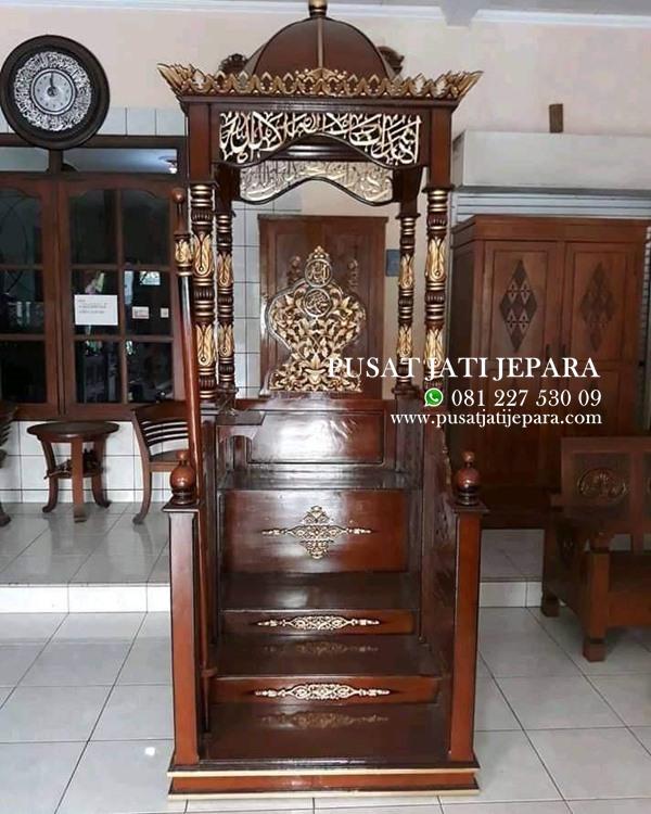 Mimbar Masjid Kubah Jati Mihrob Solid Ukiran