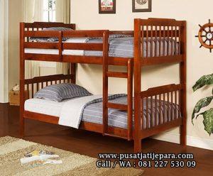 Tempat Tidur Tingkat Anak Jati Minimalis Jari Jari