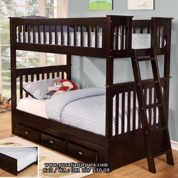 Tempat Tidur Tingkat Anak Minimalis Kayu Jati