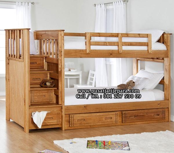 Tempat Tidur Tingkat Anak Minimalis Laci Tangga